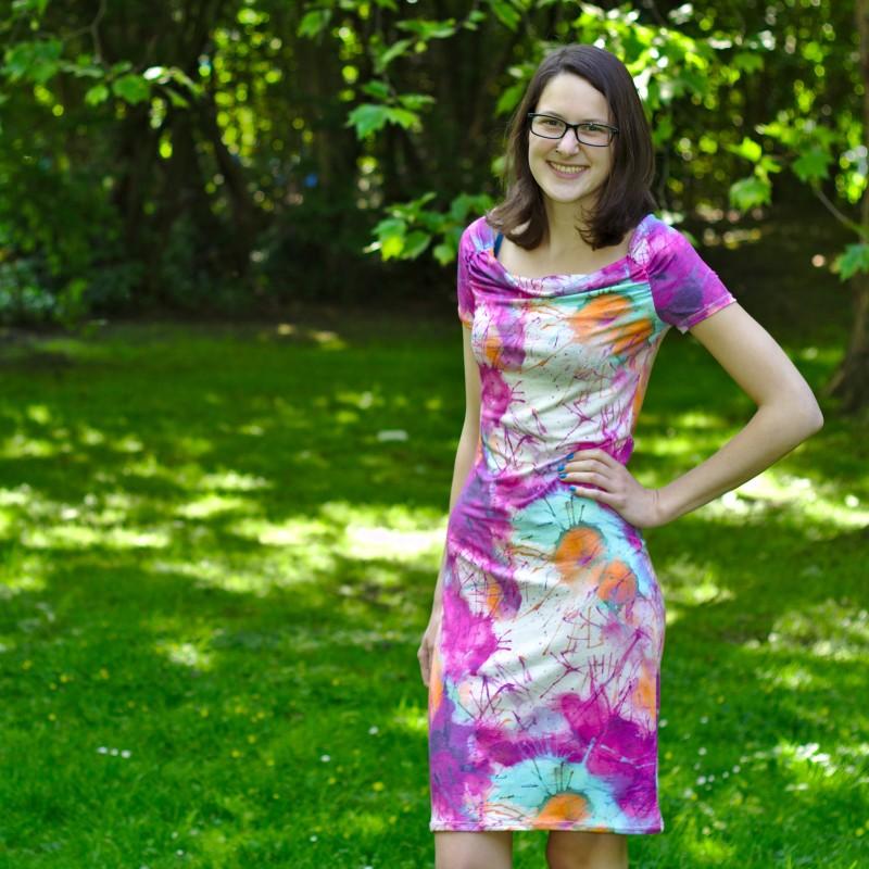 Jersey Raglan-Kleid mit Wasserfallausschnitt